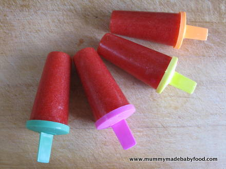 Baby Snack Idea: Sugar-Free Strawberry Ice Lollies