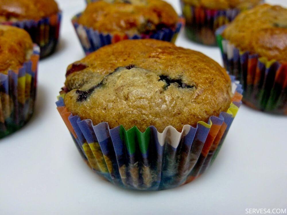 Sugar Free Banana and Blueberry Mini Muffins