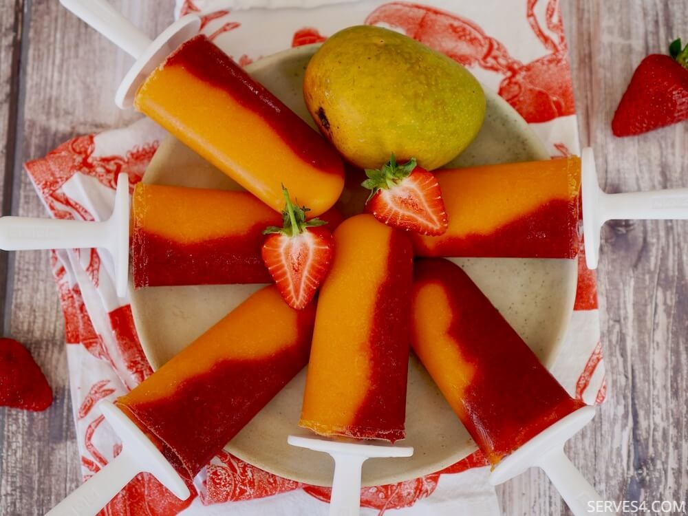 Homemade Ice Pops with Mango and Strawberry