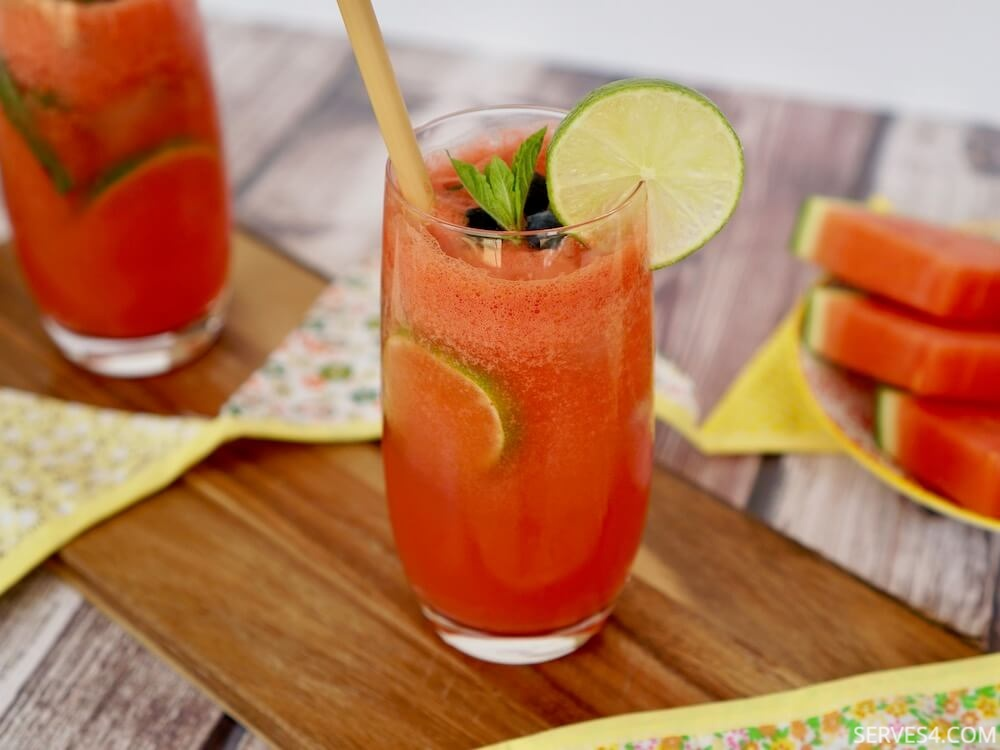 Watermelon Spritzer with Lime and Mint